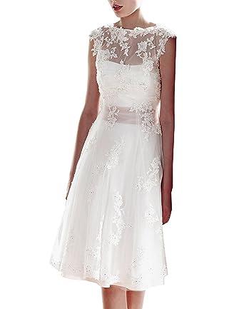 CLLA dress Damen Hochzeitskleid Knielang Vintage Spitze Brautkleider ...