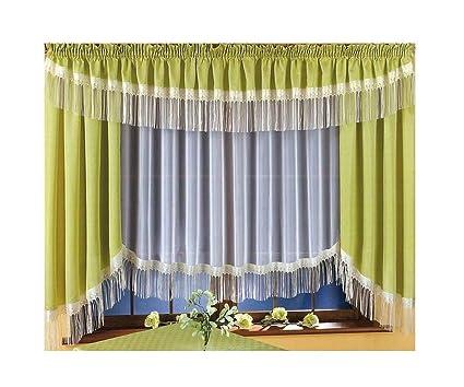 Bellissimo set di tende con colore oliva bianco tenda mantovana ...