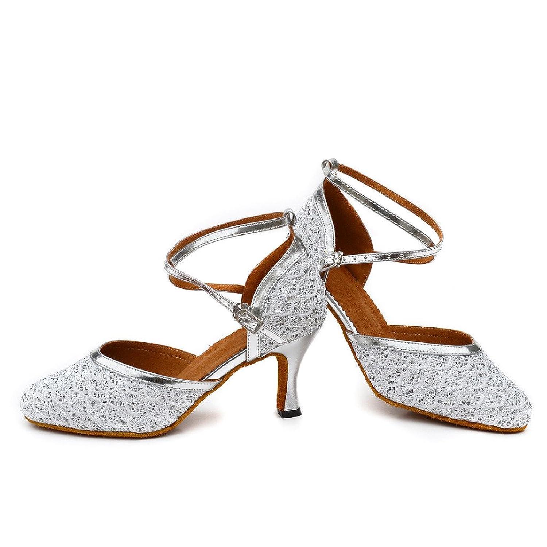 misu - Zapatillas de danza para mujer plateado plata, color plateado, talla 42