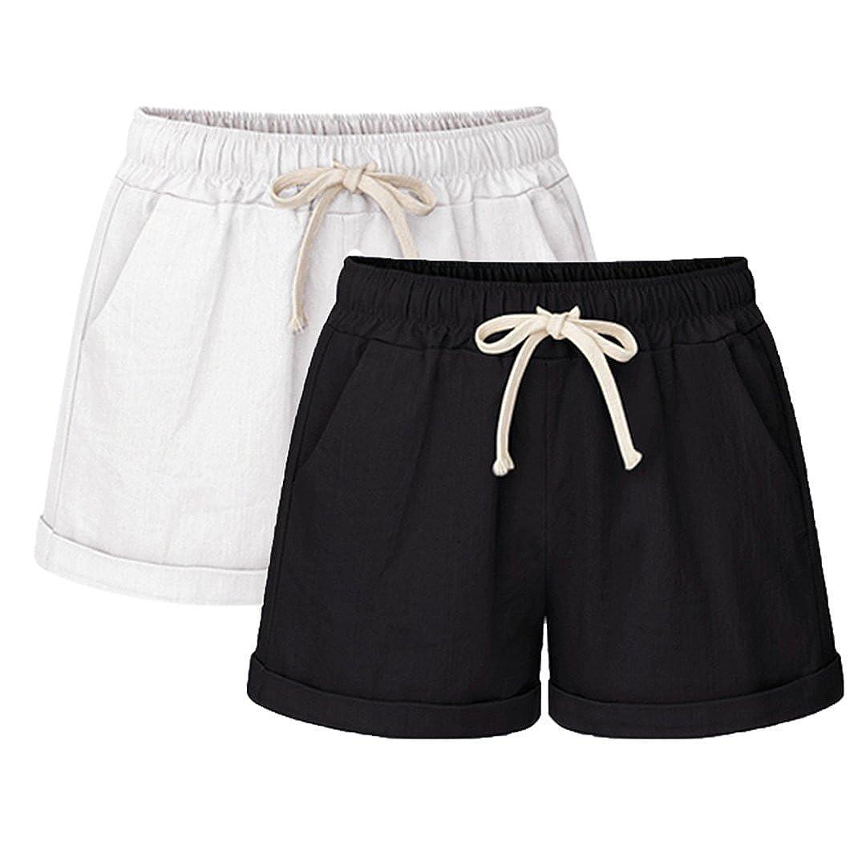 Vcansion Drawstring Elastic Waist Casual Comfy Cotton Linen Beach Shorts for Women