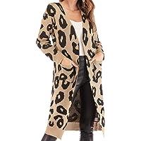 GLOGLOW Abrigo de suéter con Estampado de Leopardo Abierto para Mujer Abrigo de Manga Larga Cárdigan Suéter cálido Abrigos Abrigos con Bolsillo