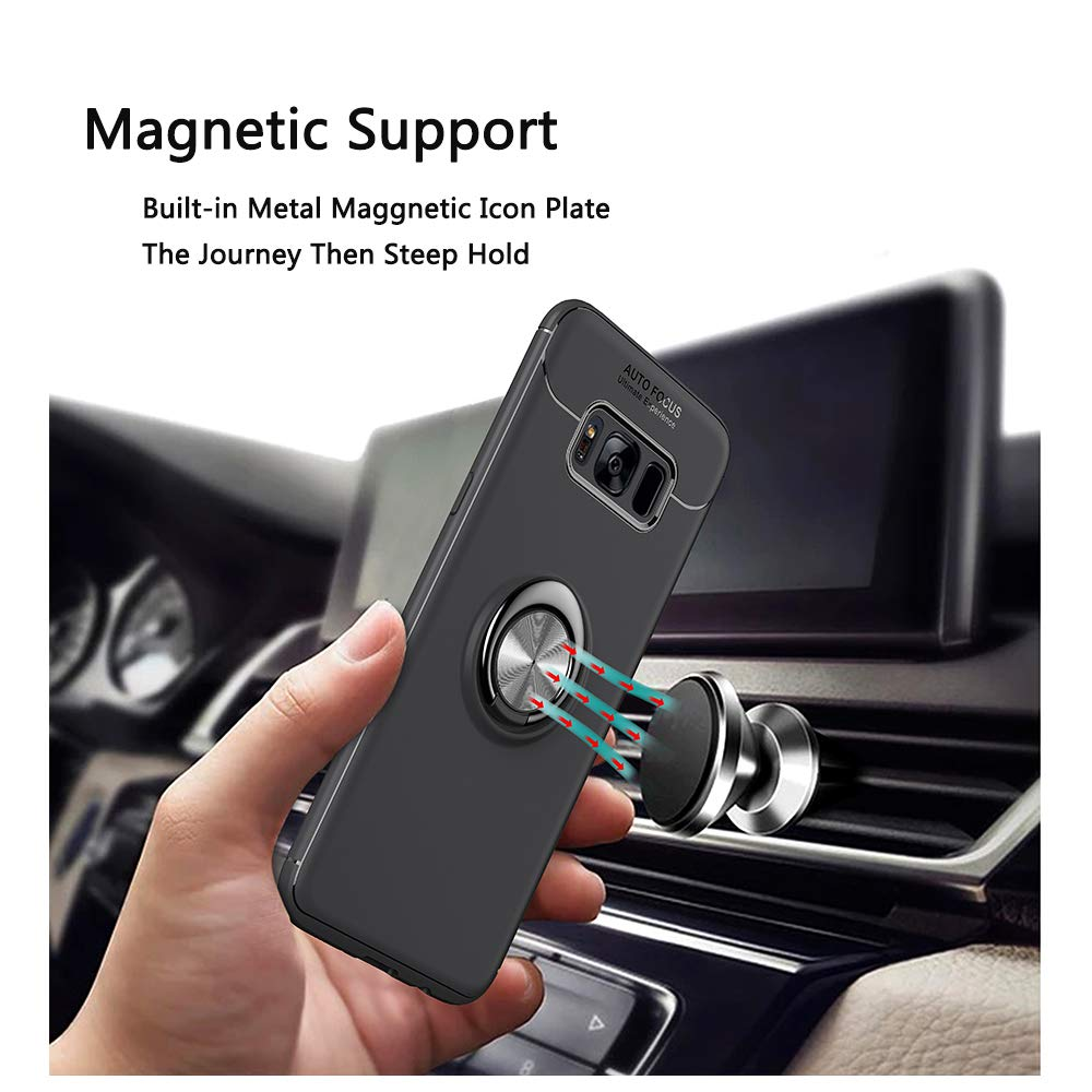 Avalri Samsung Galaxy S8 Case Thin Soft Full Protective 360 Degree Rotating Ring Kickstand Cover with Support Magnetic Car Mount Function for Galaxy S8 Black-Blue