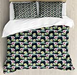 Ambesonne Cactus Duvet Cover Set Queen Size, Foliage Pattern with Watercolor Effect Mexican Indigenous Flowers Botany Inspired, Decorative 3 Piece Bedding Set with 2 Pillow Shams, Multicolor