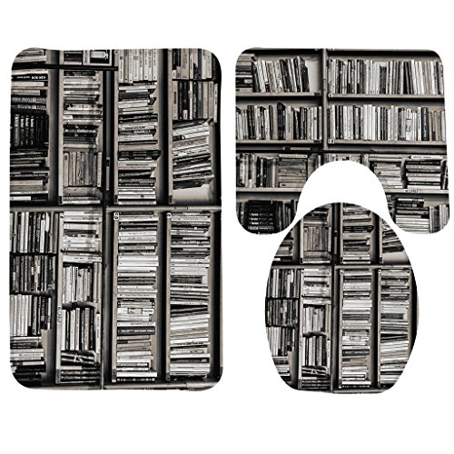 Art Abstract,Library Books Shelf Bathroom Carpet Rug,Non-Slip 3 Piece Bathroom Mat Set (Abstract Bookcase)