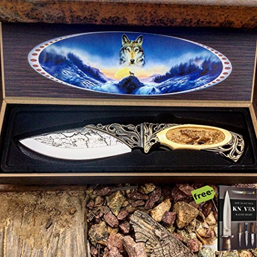 """8"""" Wolf Animal Design Folding Knife w/Gift Box Tactical Sharp Carbon Steel Razor Sharp Blade Hunting + Free eBook by SURVIVAL STEEL"""