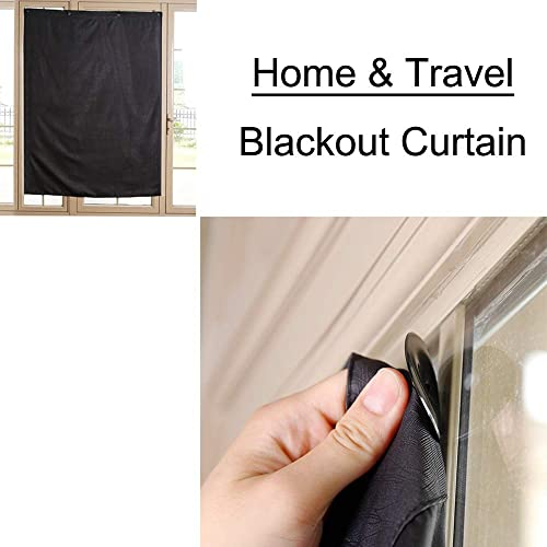 TOGRAND Temporary Portable Blinds Blackout Curtain Shade Adjustable Size with Suction Cups Provide Sleepy Environment at Home or Trip Nap Time for Baby, Kid, Day Sleeper Black-LINE, 52x72inch,1pc