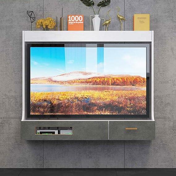 Mueble TV de Pared Estante Flotante Estante de la Pared Set Top Box enrutador DVDs Foto Juguete Estante de Almacenamiento Consola de TV Estante de decoración de Pared de Fondo de TV