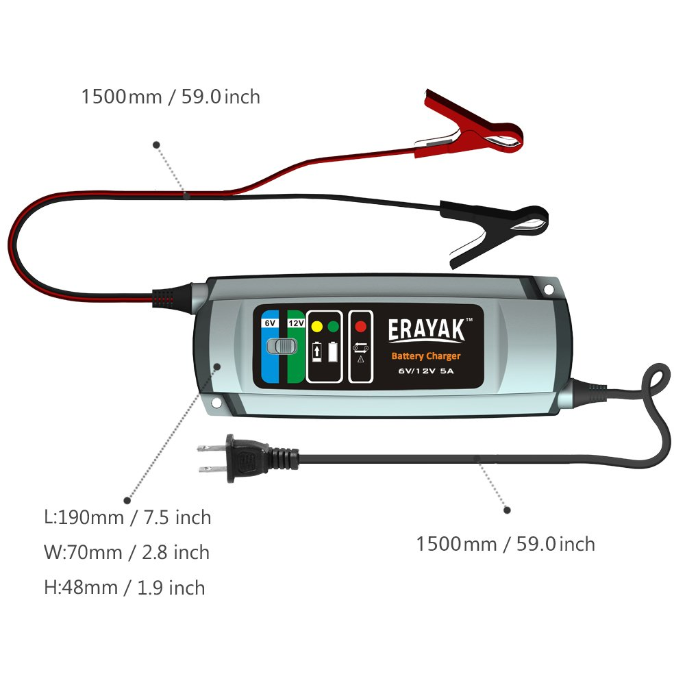 Erayak 6v 12v 5a Automatic Car Battery Charger Maintainer For 120ah Ups Circuit Diagram Lead Acid C9305 Chargers Amazon Canada