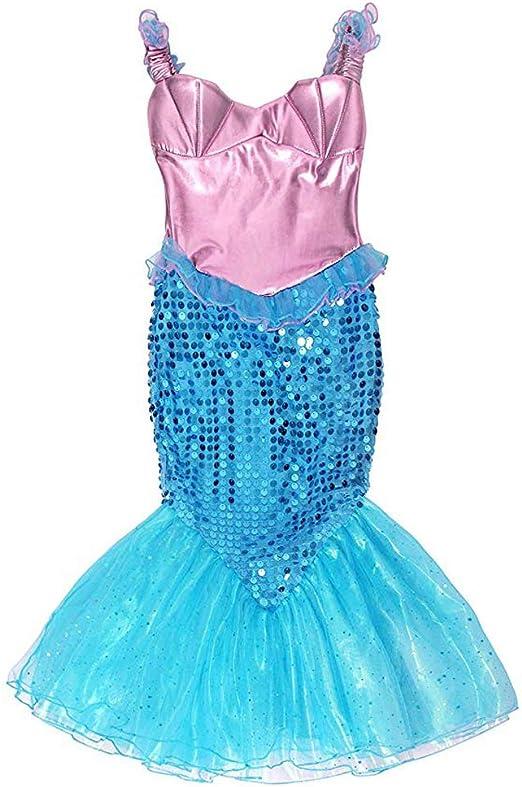 MKLKYY Vestido Disfraz de Sirena Traje para Niña, Disfraz Infantil ...