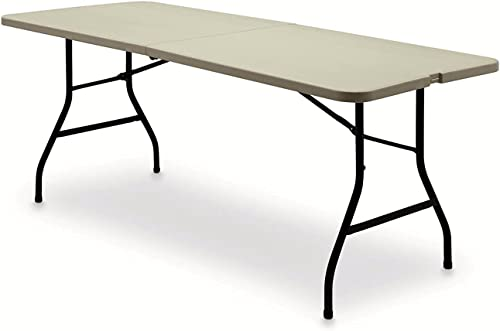6 Centerfold Indoor Outdoor Table, Heavy-Duty Sturdy Frame, Lightweight, No Assembly, White