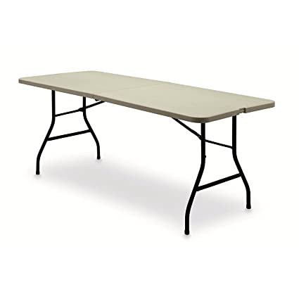 6 Centerfold Indoor Outdoor Table Heavy Duty Sturdy Frame Lightweight No Assembly White