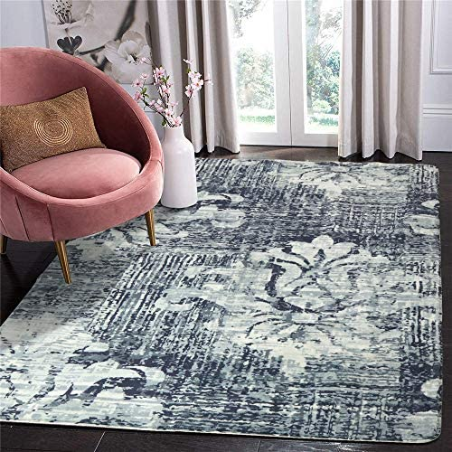 LIVEBOX Vintage Area Rug, 3x5ft Faux Wool Navy Grey Floral Distressed Area Rugs Door Mat Abstract Modern Persian Oriental Design Throw Rug Floor Mat for Entryway Bedroom Living Room Carpet
