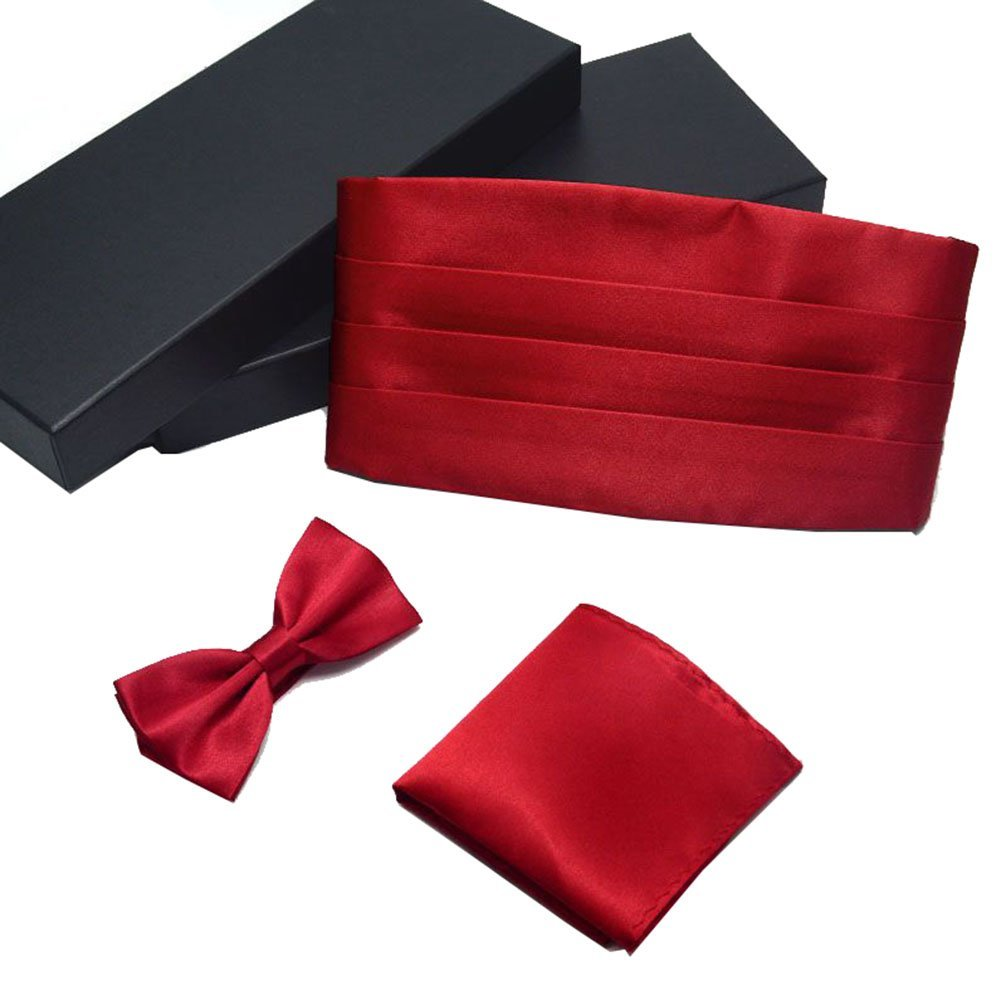AWAYTR Formal Solid Pre-tied Bow Tie & Pocket Square & Cummerbund Set 608803539699