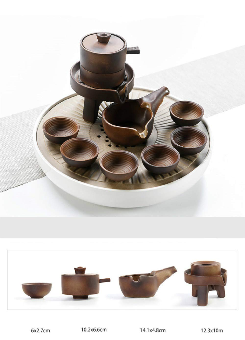 Chuangrong Chinese Gift Tea Service Ceramic Firewood Coarse Pottery Automatic Handmade Porcelain Kongfu Hot Tea Set of 13 Gift Box for Business Friend Adult Men