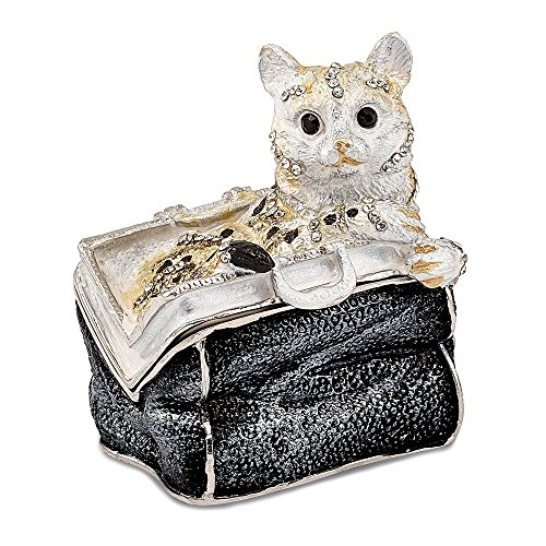 Jere Luxury Giftware Bejeweled Miss Kitty Cat in Purse, Pewter with Enamel Collectible Trinket Box with Matching Pendant Necklace ()