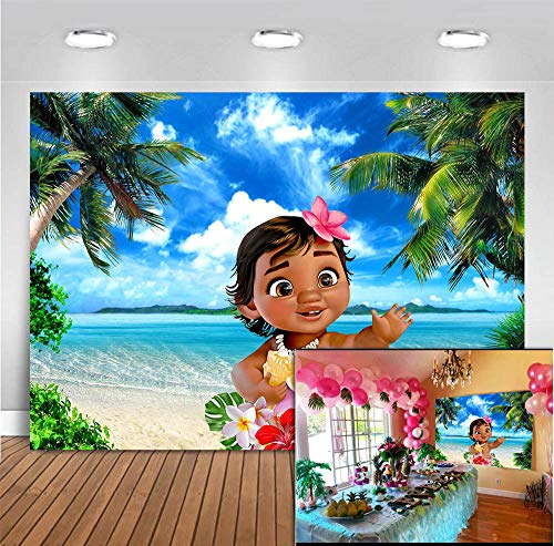 MMY 7x5ft Baby Moana Backdrop 1st Birthday Party Banner Supplies Summer Tropical Coconut Palm Tree Ocean Background Princess Baby Shower Moana Wallpaper Photobooth Props -