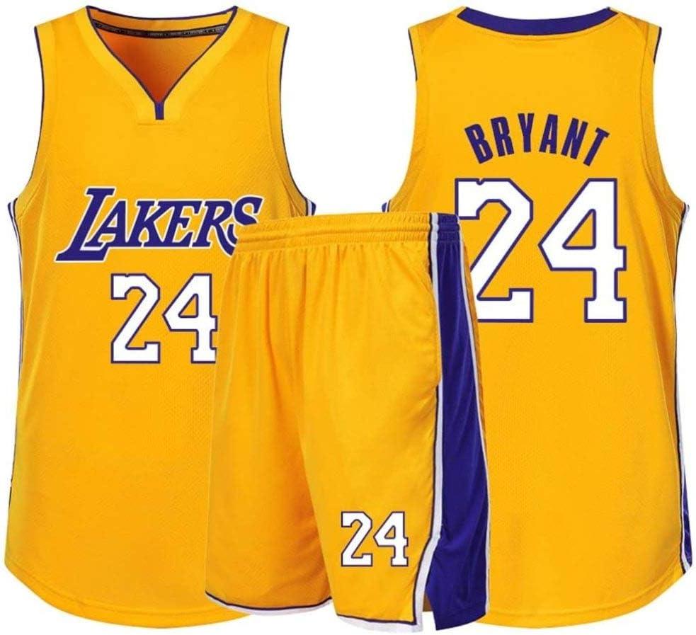 Incluyendo Pantalones Cortos,Purple-XS 24 Kobe Bryant Camiseta De Baloncesto para Adultos Y Ni/ños AZBYC Camiseta De Baloncesto para Hombres Camiseta De Baloncesto Lakers No