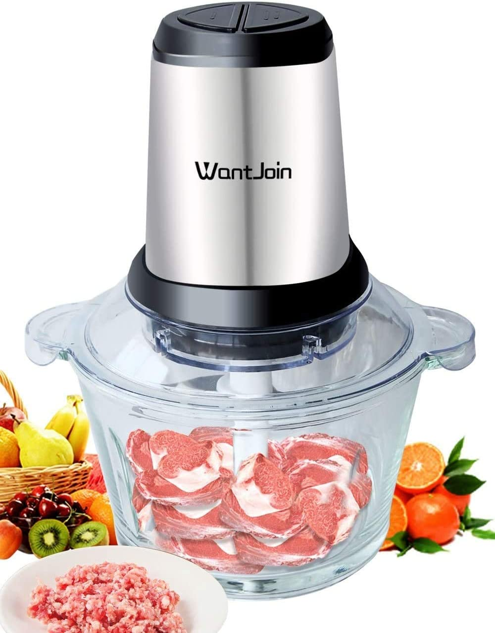 WantJoin Electric Food Processor Meat Grinder and Food Chopper with 4 Titanium Coating Blades Glass Bowl Blender Grinder for Meat, Vegetables, Fruits and Nuts, Fast & Slow 2-Speed (2L)