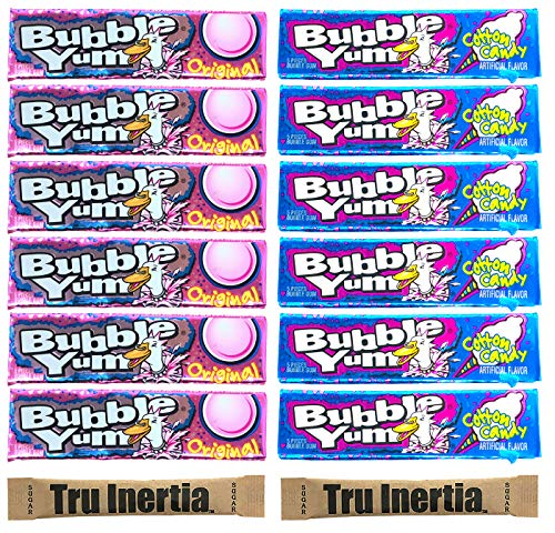Bubble Yum Gum Variety Pack - Original & Cotton Candy (Pack of 12, 6 of ea) with Tru Inertia Sugar ()