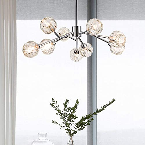 Weesalife Sputnik Chandelers Modern Crystal Pendant Light Chandelier 9 Lights Contemporary Chrome Branches Chandeliers Ceiling Light Fixtures