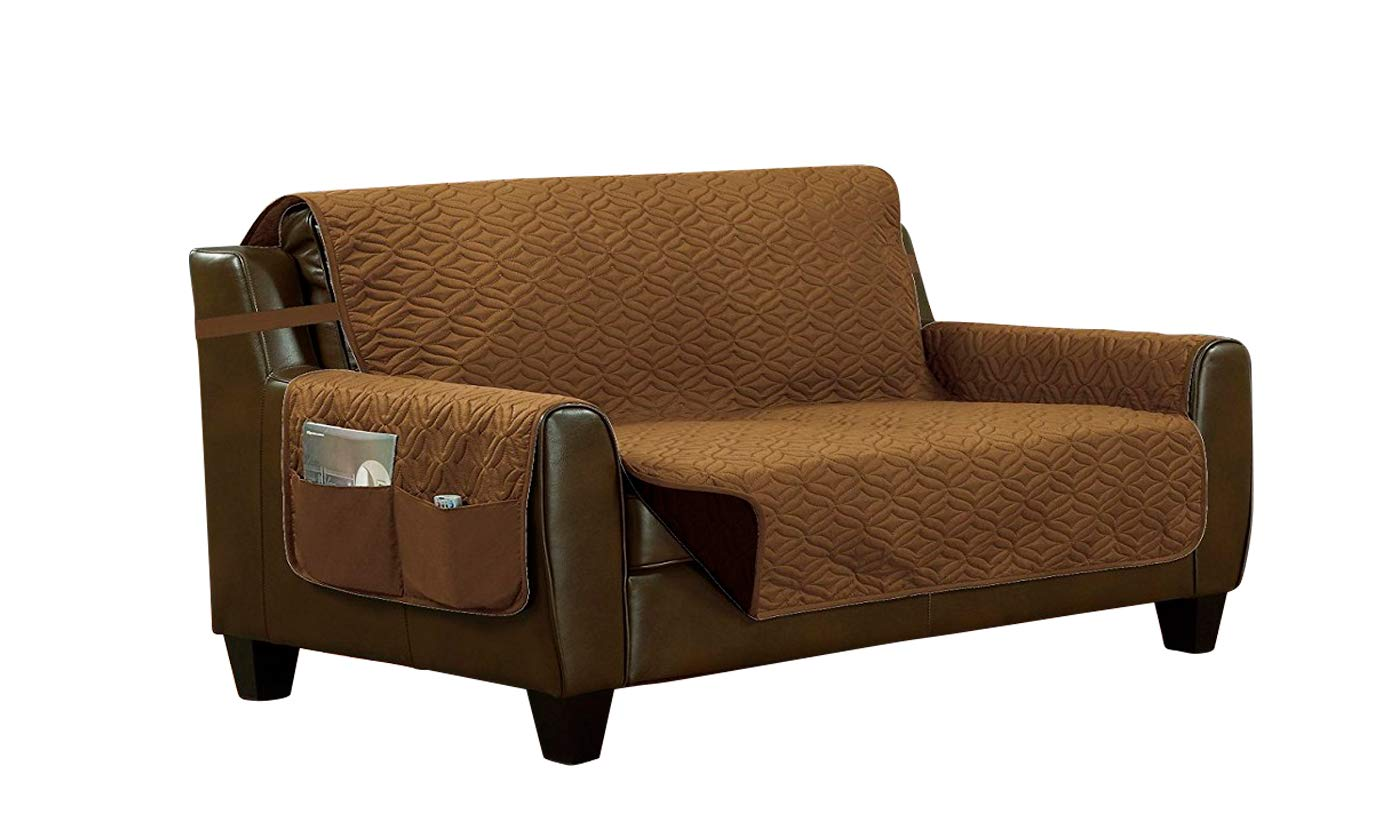 Home Sweet Home Reversible Quilted Slip Cover Furniture Protector (Loveseat, Bronze/Brown)