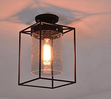 INTASDD Deckenleuchte Loft Style Retro Glas Industrie Deckenleuchten ...
