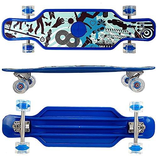 FunTomia Kunststoff Longboard BigBoard mit LED Rollen und Griptape ABEC11 Kugellager (blau)
