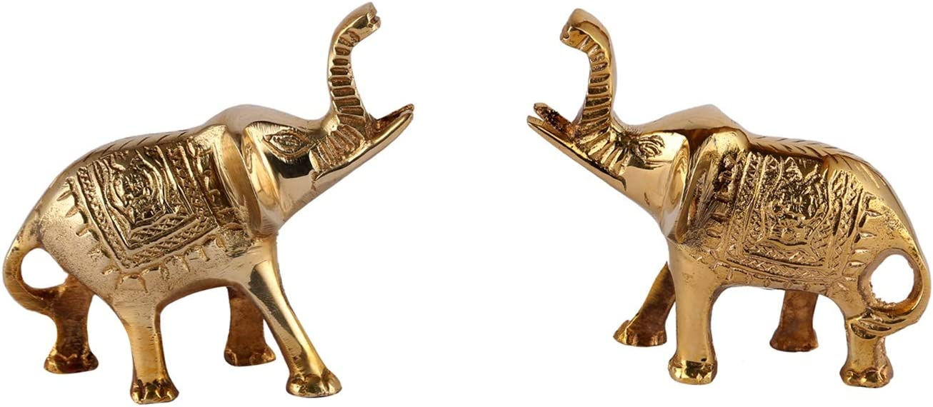 Aatm Brass Figurine Elephant Trunk Up Statue in Pair Best for Home & Office Decoration & Feng Shui Gift Purpose Handicraft (3.5 and 1 Inches)