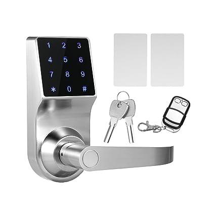 Decdeal 4 en 1 Cerradura Electrónica Táctil de Contraseñas, ID Trajeta, Remoto Control,