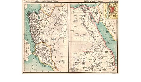 Tunisia North Africa Map.Amazon Com North Africa Morocco Algeria Tunis Tunisia