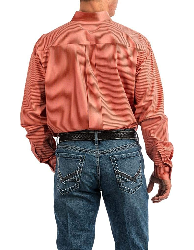 Cinch Mens Classic Fit Long Sleeve Button One Open Pocket Stripe Shirt