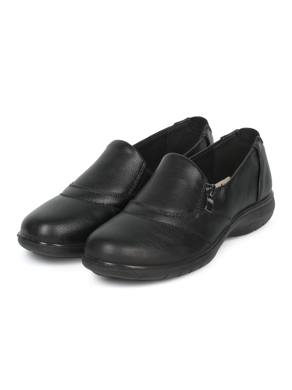 Alrisco Women Leatherette Round Toe Elevated Heel Work Loafer HD92 - Black Leatherette (Size: 7.0) by Alrisco (Image #5)