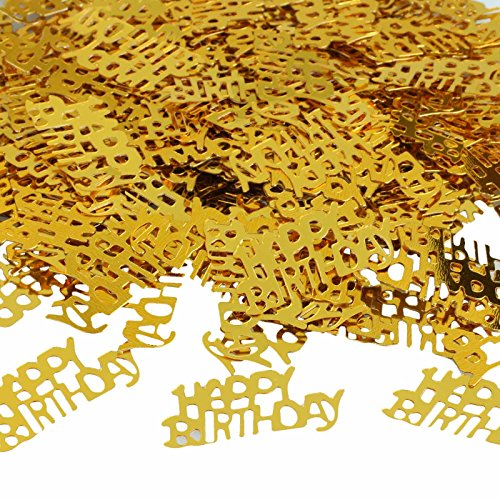 vLoveLife 200pcs Glitter Gold Happy Birthday Party Table Confetti Metallic Sprinkle Happy Birthday Numbers Table Scatters Digitals Figures Favors Decorations -