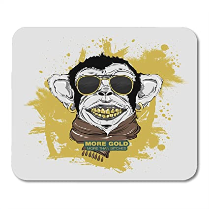 Boszina Mouse Pads Swag Monkey With Scarf And Sunglasses For Hipster Modern  Street Attributes Head For