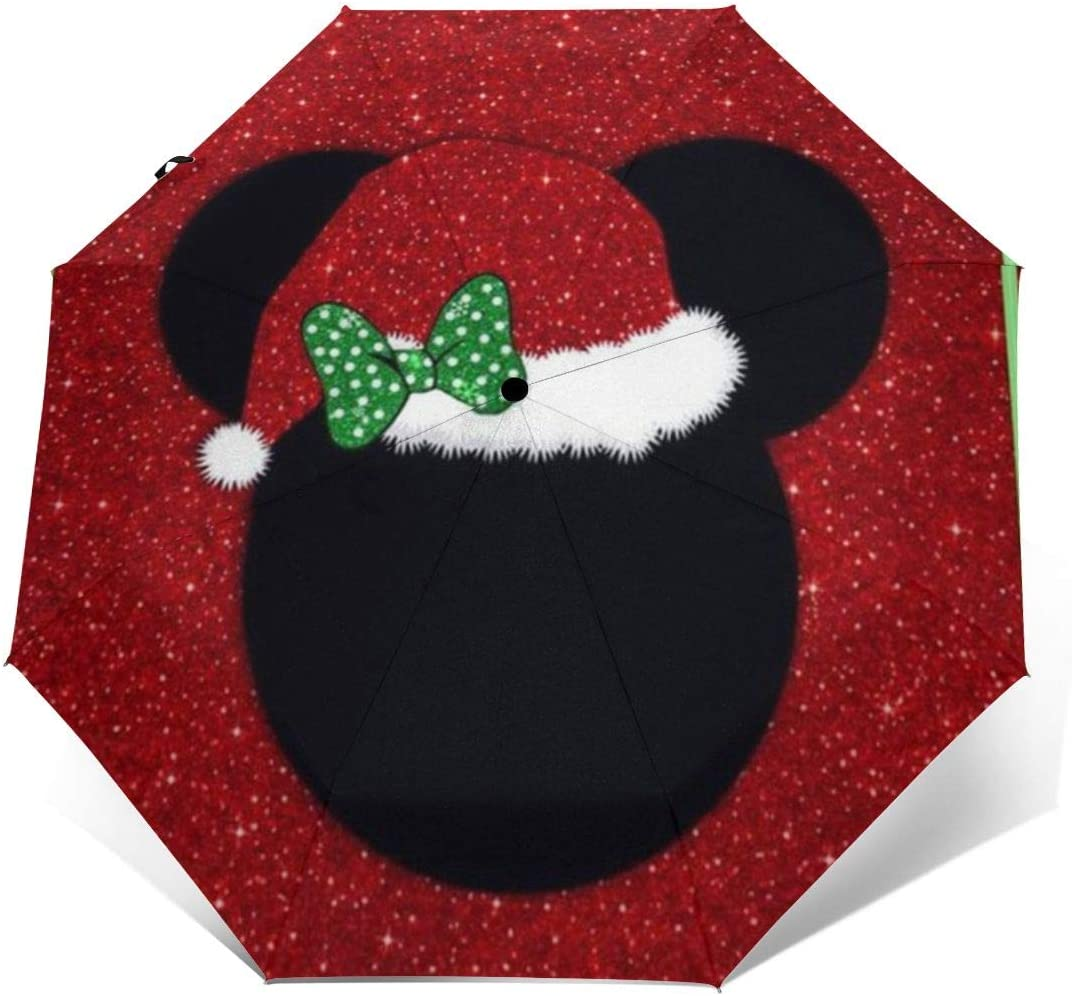 Windproof Travel Umbrella Mickey Head Christmas Compact Folding Umbrella Automatic Open//Close