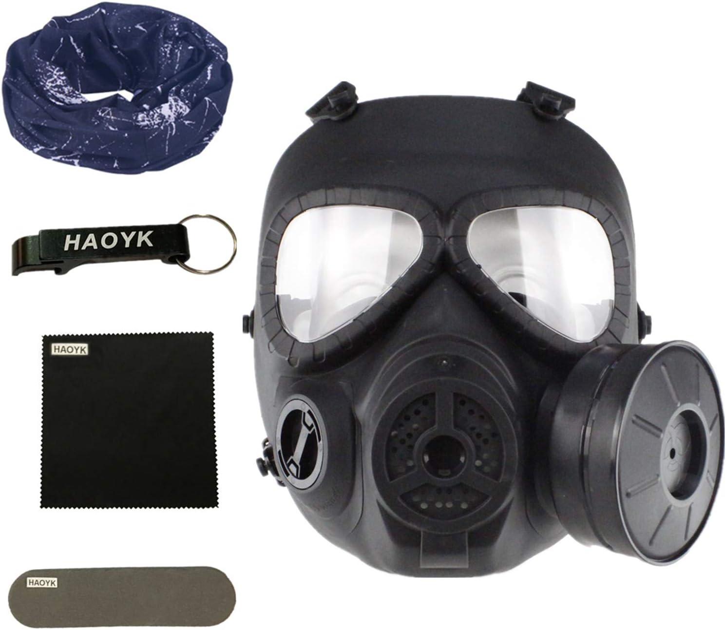 haoYk táctico Dummy Anti Niebla máscara de Gas M04 con Turbo Ventilador Airsoft paintbal protección Gear - Llavero Incluido