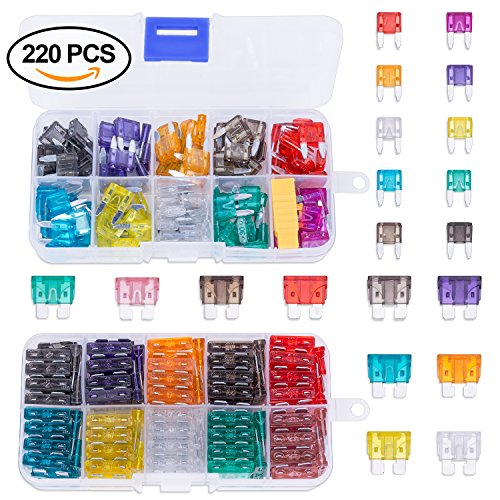 Blade Car Fuses Assortment Kit 220PCS –Standard & Mini (2A/3A/5A/7.5A/10A/15A/20A/25A/30A/35A)