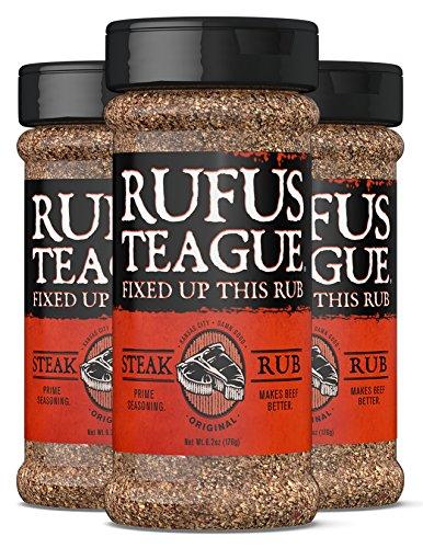 Rufus Teague STEAK RUB - (3 Pack) 6.2oz Shaker - Bold Steak Seasoning. Beyond Steakhouse Flavor. - Premium Herbs & Spices - Unique, All Natural Ingredients & Gluten-Free
