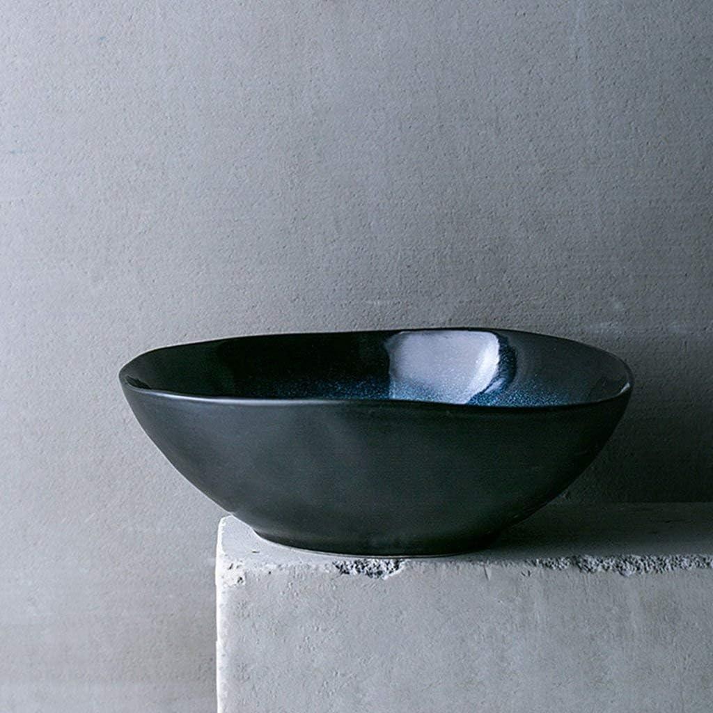 XXJ-Bowls Ciotola di Ramen in Ceramica di Stile Giapponese Ciotola di insalatiera di zuppa innovativa Ciotole di Noodle istantanei semplici Color : Blue