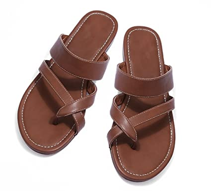 89bdf7320d9 Womens Sandals Flat Ankle Gladiator Thong Flip Flop Beach Leather Casual  Summer Slippers