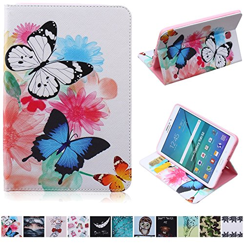 Galaxy Tab S2 8.0 Case,UUcovers PU Leather Wallet Case [Card Slots] Kickstand Feature Case for Samsung Galaxy Tab S2 8.0 T710/T715 (Colorful Butterfly) by UUcovers