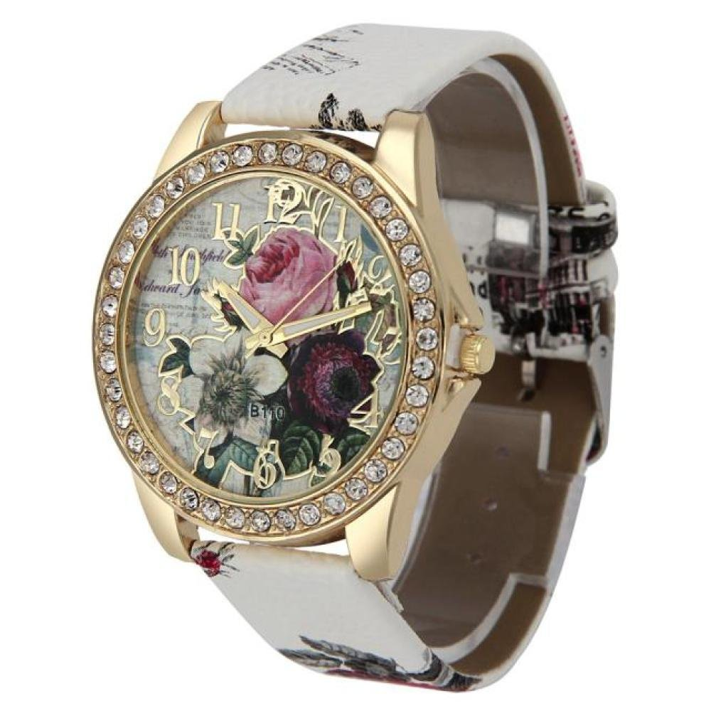Iuhan Women s Wristwatch, Rose Pattern Leather Band Analog Quartz Vogue Wristwatches