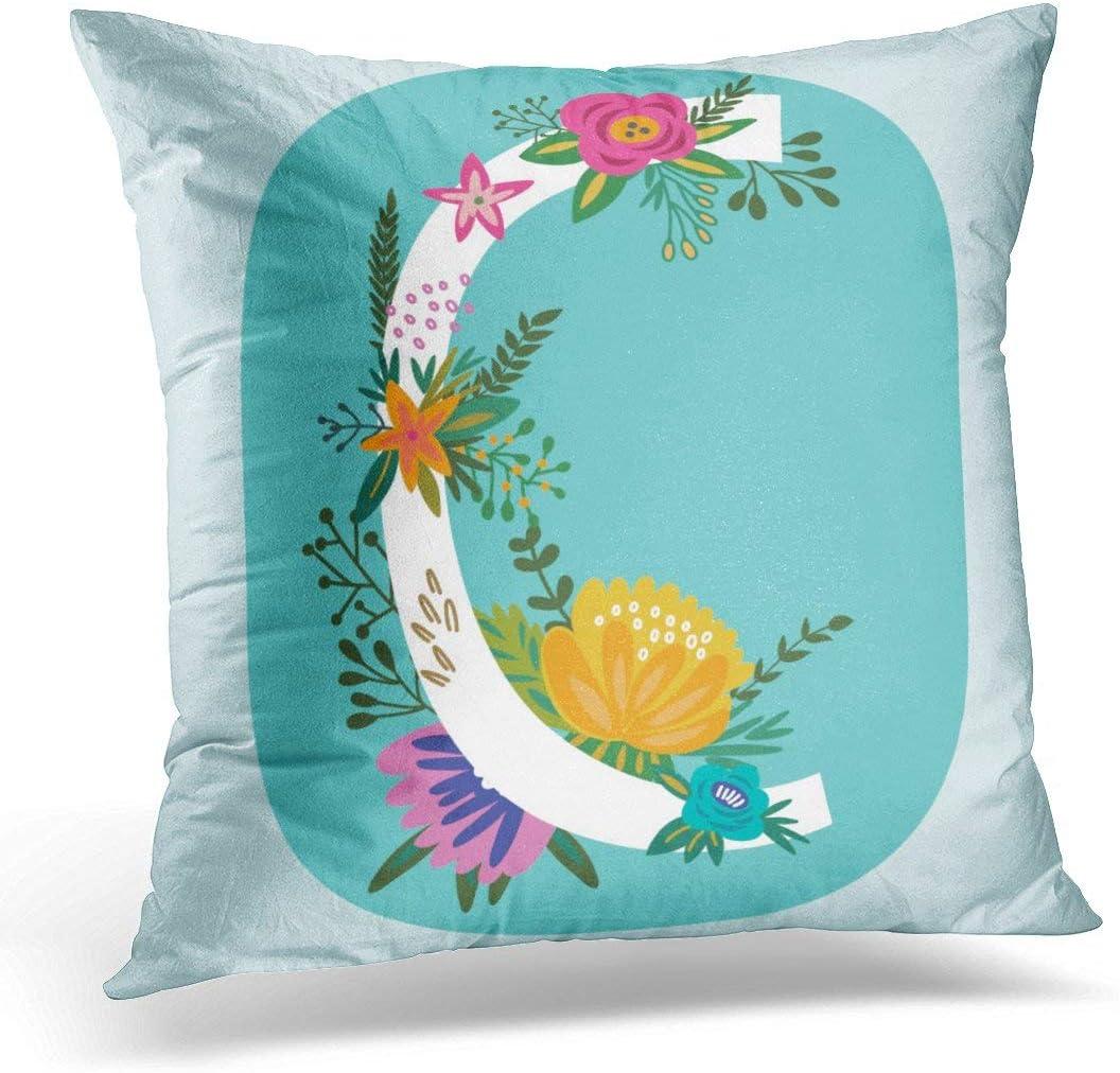 phjyjyeu Fundas de almohada con monograma floral con letras de flores vintage increíbles, perfectas para folletos, blogs y más fundas de almohada decorativas, decoración del hogar, 45,72 x 45,72 cm