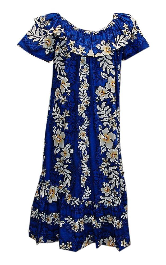 Women Hawaiian Long Double Ruffle Hibiscus Blue Muumuu Jade Fashions Inc