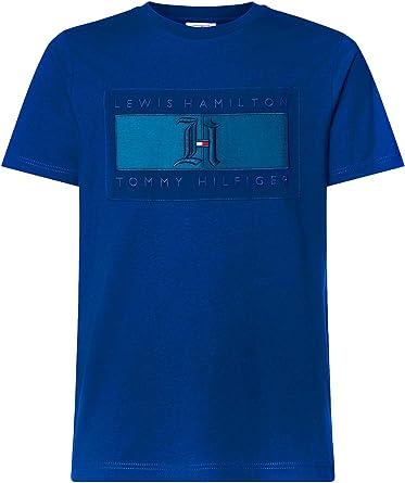 Tommy Hilfiger X Lewis Hamilton – Camiseta de hombre azul océano con logotipo en tonos turquesa XS: Amazon.es: Ropa y accesorios