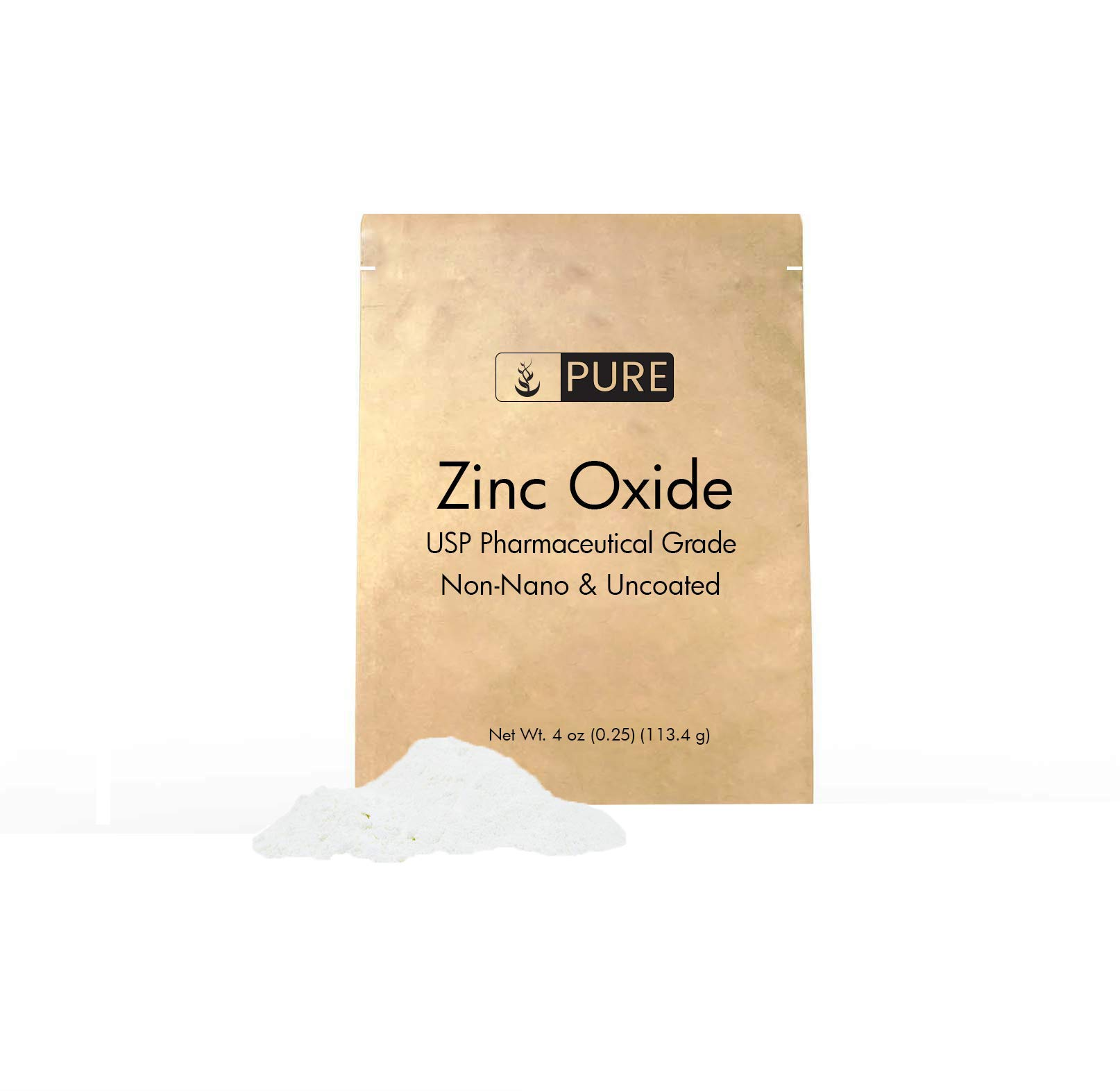 Zinc Oxide Powder (4 oz.) by Pure Organic Ingredients, Eco-Friendly Packaging, Non-Nano, Uncoated, Food & USP Grade, For Sunscreen, Diaper Rash Ointment, Burn Relief & Chapped Lips Remedy