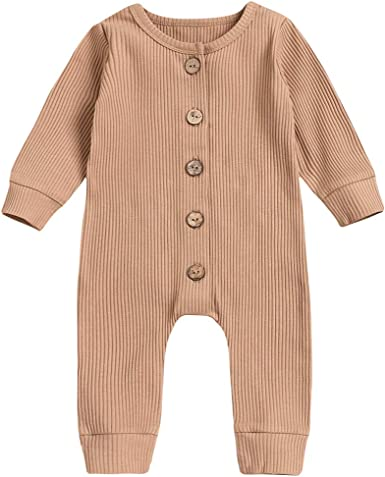 Newborn Baby Solid Button Design Bodysuit