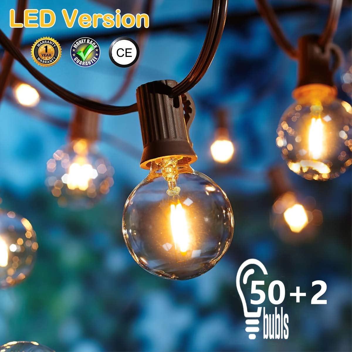 50 LED Versión] 16.6 Metros Guirnaldas luminosas de Exterior,OxyLED G40 50+2 Bombillas Luces de la Secuencia del Jardín al Aire Libre,Decorative String Luces,Garden Terrace Luces de Patio de Navidad: Amazon.es: Iluminación