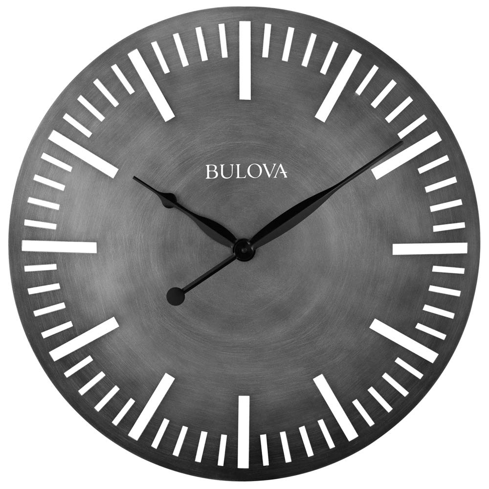 Silver Bulova C4869 Arc Wall Clock