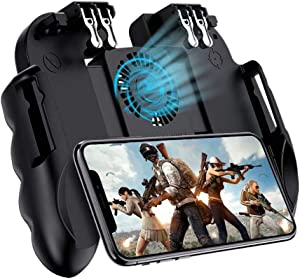 """popman Mobile Game Controller 4 Trigger with Cooling Fan for PUBG/Call of Duty/Fotnite [6 Finger Operation] L1R1 L2R2 Gaming Grip Gamepad Mobile Controller Trigger for 4.7-6.5"""" iOS Android Phone"""